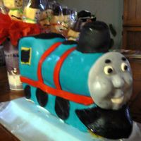 Thomas The Train This is from a Wilton stand-up cake pan. (I won't use again!) Covered in Fondant. Next time I will do a carved one! I have 3 dowels in...