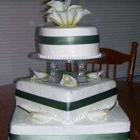 Brides Cake Small round and square tiered brides cake.