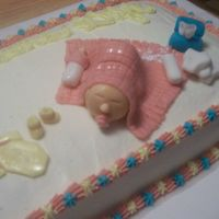 Baby Shower Cake another view of the baby shower cake, I should have made the baby's head sideways! LOL