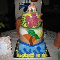 Beach Party My sister's Baby shower cake. Took me 2 days straight but turned out decent. I got all the way to the party and foforgot the fondant...