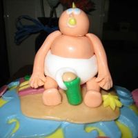 Beach Party Close up of the baby on top of the cake. The top baby had the coolest mohawk.