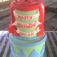Circus Cake 5th cake for a friend's daughter on her 2nd b-day, used butter cake, fudge filling and fondant to decorate, was a huge hit w/ the kids...