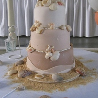 Sea Shell Wedding Cake Fondant covered cake with graduating shades of brown. Fondant/Gumpaste mix for sea shells, fondant scalloped border and vanilla wafer...