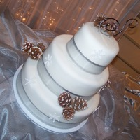 Winter Wedding Cake Fondant covered wedding cake with glistening royal icing snowflakes and real pine cones.