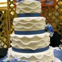 Blue Hydrangeas This bridal show display cake is based on a cake shown on the Knot. Silk hydrangeas and fondant ripples or waves.