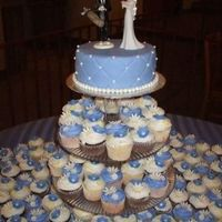 Periwinkle Cupcake Wedding You cannot see the whole table on this, but there were 270 total cupcakes. The cupcakes were frosted in BC, flavors with strawberry WASC...