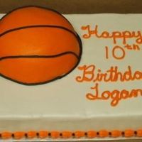 Basketball Sheet Cake single layer sheet cake in BC with half basketball in BC also - wish my lines on the basketball would have turned out better. TFL