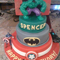"Super Hero Squad Cake for my 4yr old who loves all things superheros! 10', 8"", 6"" buttercream filled, covered in Duff fondant and decorated..."