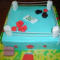 Boxing Ring 10 inch square chocolate cake. Boy wanted a boxing cake and this was the best I could come up with.