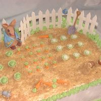 Peter Rabbit Baby Shower Cake A Peter Rabbit cake made for a Peter Rabbit themed baby shower. The cake is a 15 X 18 double layer, yellow sheet cake iced and filled with...