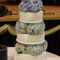 Flower Wedding Cake Top 4 tiers were fake bottom tier real for the bride & groom to cut.