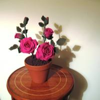 Roses In Pot Made these roses using artista soft modeling paste.