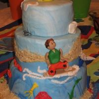 Surfs Up! Dude...  I made this for my son's 5th birthday...bottom is buttercream, center is chocolate, and top is strawberry...buttercream frosting...
