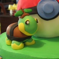 Pokemon Birthday Cake Pokemon Birthday cake. The birthday boy's favorite critter, Turtwig, sits on top in 3D (sugar paste and fondant) with panels of...