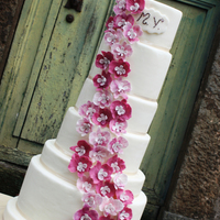 Wedding Cake Different Hight Tier 7 tier wedding cake with cascading orchids