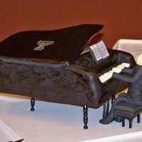 "Baby Grand Piano This was made from a 12"" x 18"" sheet cake. The wooden legs of the piano were painted black and hot glued to the bottom of the..."