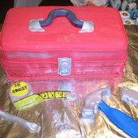 Tool Box   Idea from here on CC for my husband's birthday! tools are all fondant painted with luster dust Tool box is all Fondant