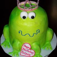 Princess Frog sculpted frog cake with buttercream, fondant name plaque and eyes. (non- edible tiara...i know, shame on me!!!)