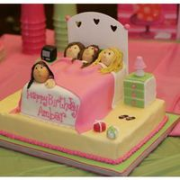 Slumber Party I made this for my cousin's daughter's 11th bday. Vanilla cream cake. MMF accents (including the headboard) the nightstands are...