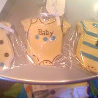 Onesie Cookies These were for a friends shower.NFSC with MMF. I used a cutter/texture set for the imprints. Sorry for the quality of the photo, I took the...