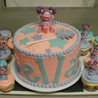 Ella's 2Nd WASC, buttercream & fondant accents. Abby Cadabby is a candle and the smaller Abby's are cupcake toppers