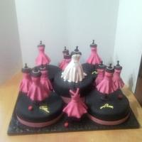 Bridal Shower Cake Bride And Bridesmaids Dresses They are made of rice crispie and fondant.