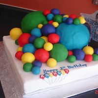 Ball's Of Fun Cake All balls are made of fondant the 2 larger ones are made of cake.