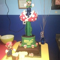 Mario And Luigi Bros Flower Cake   The flower is made of rice crispies