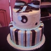 Brown And Blue Bow Cake