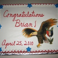 Eagle Scout Cake   A co-worker's son became an Eagle Scout and he asked me to make this cake for the celebration. The Eagle is an edible image.