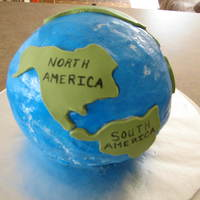 Globe Cake Used buttercream to ice the cake the green is fondant.