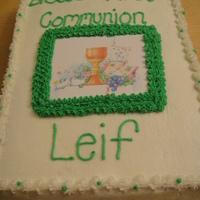 First Communion White cake with BC The picture was a copy of their invitation