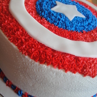 Capitan America Cake For a little boys 4th Birthday superhero party. Too fun! Chocolate cake, chocolate/fudge/oreo filling, bc frosting