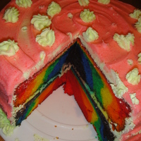 "Rainbow Cake For Mommy! So, I""ve been dying to try this rainbow cake! I did it backwards, to get the full rainbow effect, but I had a blast making the cake!..."