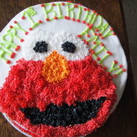 "Emily's Elmo White Cake with BC. Freehanded Elmo, was pretty nervous about it!! I hope she enjoys it, this was my first official ""client"". And..."