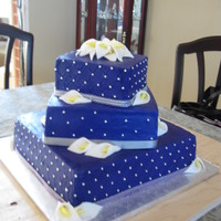 3 Tier Purple Engagement Cake picture looks blue but it is royal purple. Client sent email of cake she found on net so not my design, just a copy.