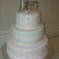 Pink & Green Polka Dots   Three tiered pink and green polka dot cake with initial topper.