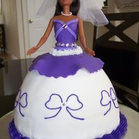 My First Barbie Cake!  This was my very first barbie cake.  The bride loves barbie so her mother wanted a barbie-themed cake for her bridal shower.&...