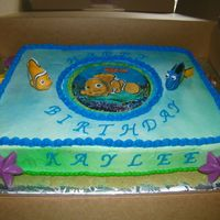 Finding Nemo!   white cacke with buttercream and yummy chocolate candies!