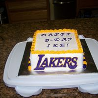 Lakers Cake   white cake with buttercream and royal icing accents