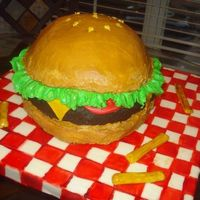 Hamburger This cake was so much fun....and not too difficult! It's buttercream with fondant tomato, cheese, tablecloth and french fries. The...