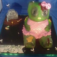 Hello Kitty Zombie Cake I used the Wilton stand up bear cake pan, wasc recipe and covered it in mmf.The tombstone is a rice krispie treat and flies and maggots are...