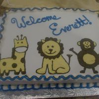 "Jungle Animals Baby Cake This cake was for the ""come meet the new baby"" party we had for my new nephew. His bedroom theme is jungle babies. I drew my..."