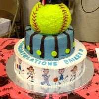 Graduation Softball All chocolate with buttercream. Edible image sports characters and fondant accents. The grad got a scholarship to play softball and played...