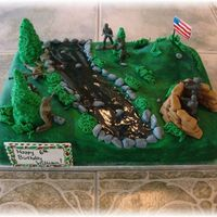 Battlefield Cake  For a friend. Normally I don't like to put plastic on my cakes.....I want to keep it ALL edible as much as possible (except for...