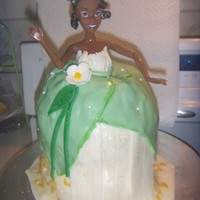 Tiana Princess and the frog Tiana Barbie cake with MM fondant.