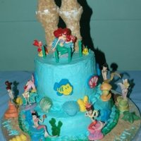 Little Mermaid Ariel and her underwater castle. All buttercream with sugar candy accents and store bought figures.