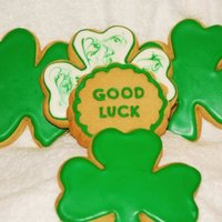 Good Luck Cookies 1/4 inch Sugar Cookies with Royal Icing - Good Luck Clovers