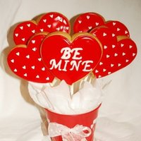 Valentine Cookie Bouquet 1/4 inch Chocolate Chip Cookies with Royal Icing - Valentine Assortment 1