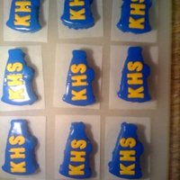 Megaphone Mini-Cakes Vanilla cakes with poured fondant & royal icing flooded hand made letters
